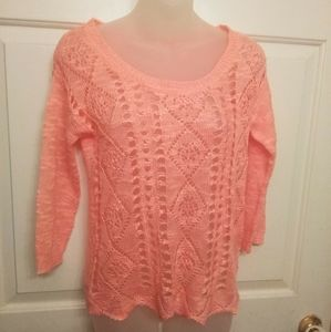 Maurice's peach colored spring knit sweater size S